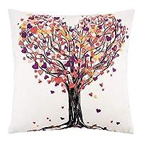 "Lewondr Printed Velvet Throw Pillow Case, Cotton Linen Throw Pillow Case Square 18"" x 18"""
