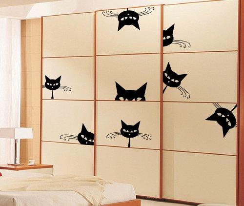 adesivi Creativi Vinilo adhesivo de pared tamaño gatos incorporado, 1
