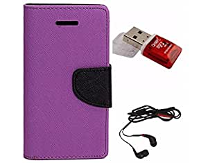 Avzax Diary Look Flip Wallet Case Cover For Samsung Galaxy Note5 (Purple) + Memory Card Reader + In Ear Headphone