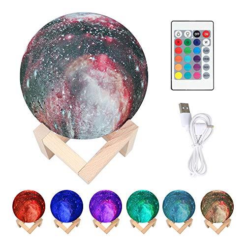 """Lámpara de la luna Impresión en 3D del cielo estrellado Luz de la luna con soporte de madera, carga USB 16 Cambio de color Control táctil Lámpara de escritorio para niños (5.9 """"/ 15cm)"""