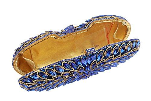 Yilongsheng Mesdames Dazzling fourre-tout sacs avec brillant strass Pour partie bleu