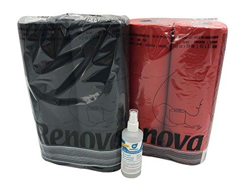 Farbiges schwarzes und rotes Luxus Klopapier von Renova mit Test Bio Reiniger von Kaiserrein