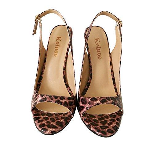 Kolnoo Damenschuhe Faschion Allenissima 120mm Peep Toe Slingback High Heel Sandals Schuhe Leopard