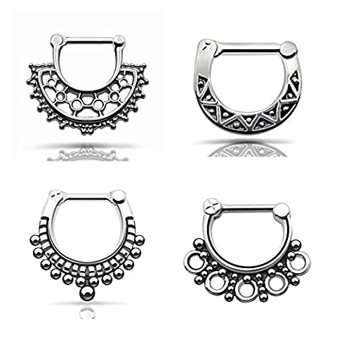 D&Min Jewelry Mixed Mode 316L Stainless Steel - 14g 16g Septum Clicker Bull Ring Nose Piercing