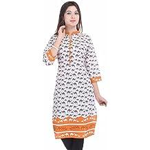 Imago Women Girl Cotton Printed 3/4 Sleeve designer Kurti Orange 005 XL