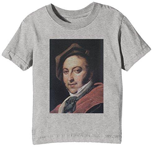 Erido Gioachino Rossini Kids Unisex Boys Girls T-shirt Grey Tee Crew Neck Short Sleeves All Sizes
