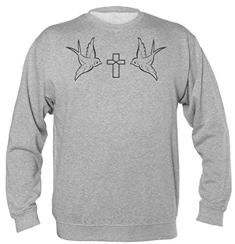Two Birds With A Cross Minimal Design Unisex Sweatshirt Medium