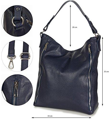 Taschenloft XL Schultertasche Hobo Damen Tasche Leder - groß (33 x 35 x 15 cm) Dunkelblau
