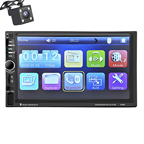ZJYYD Auto-DVD/CD-Player, 7-Zoll-12-V-Universal-Audio- und -Video-Bluetooth-Freisprecheinrichtung MP5-Kartengerät Bildumkehr + Rückfahrkamera (Universal Auto-cd-player)