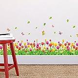 Zooarts pegatina de Tulipanes, flores, mariposa, extraíble, para pared, vinilo adhesivo mural