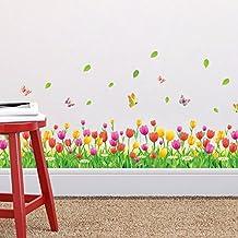 Zooarts Tulip Flores y Mariposas extraíbles Vinilo de pared Adhesivos Adhesivo Mural