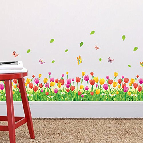 Pegatina de vinilo para pared de tulipán, flores y mariposa de Zooart