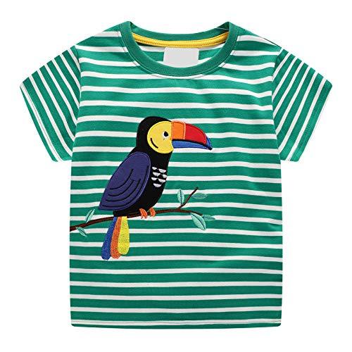Kostüm Papagei Muster - Kleiner Junge kurzärmeliges T-Shirt aus Baumwolle mit Streifenmuster Papageienmuster Sommermode Kleidung Kinder 1-8 Jahre Alter Junge (Grün)