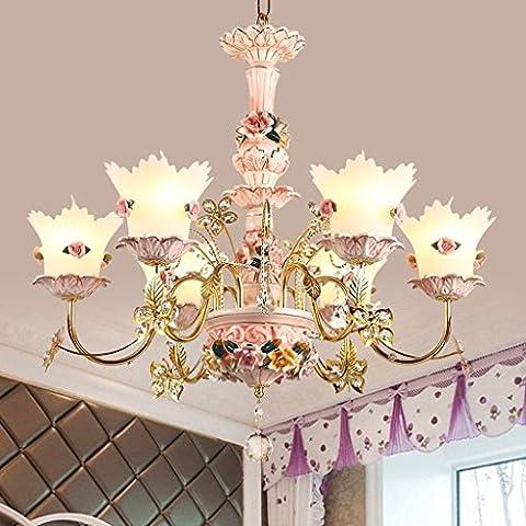 Luxus Deckenleuchte Kinder Schlafzimmer 6 Glühbirne Glas Schirm Halter Kronleuchter E14 Lichtquelle (nicht Tragen E14 Lichtquelle)