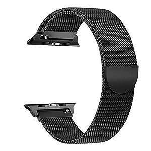 Beidifa auf ersatz Riemen 42mm Band uhrenarmband iwatch Apple auf Reihe 1 2 3, mit Edelstahl – Armband – magnetverschluss (Schwarz)