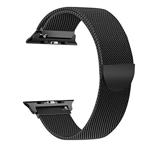 Tervoka pour Apple Watch Bracelet 38mm(40mm Series 4), Milanais Strap Acier Inoxydable Band pour Apple Watch Series 4/3/2/1, Noir