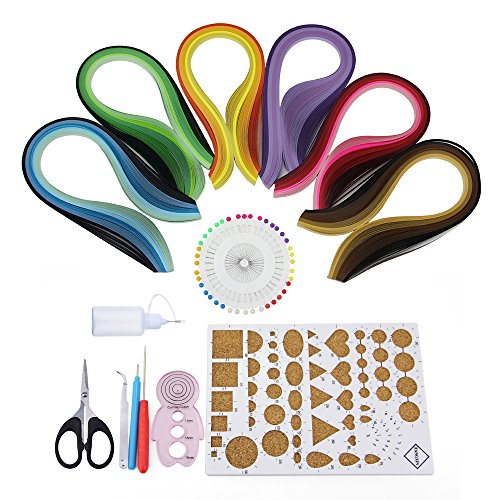 Quilling Papier, Htianc Papier Quilling Set, Quilling streifenmit 8Quilling Werkzeug, 600Streifen 30 Farben für Basteln DIY (Machen Sie Es Starter Kit)
