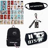 Grapes Garden Kpop BTS, BTS Rucksack+BTS Federmäppchen+BTS Mundmaske+BTS Schlüsselanhänger+30 Stück BTS Photocard Set, Geschenk für A.R.M.Y(Rap Monster)