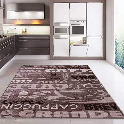 VIMODA Teppich Coffee Kaffee in Beige mit Schriften für die Cafe Lounge Küche oder Wohnzimmer, Maße:80x250 cm