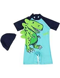 Bebé Niños Shorty Traje de Baño - Infantil Una Pieza Ropa de Natación Manga Corta Ropa de Baño Dinosaurio