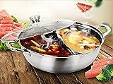 ZXMXY Hot Pot Selbsthilfe Mandarinente PotSoup Pot 2 Grid 2 Geschmack Kochtöpfe Fondue Pot Edelstahl Praktischer Griff Heatproof (34cm)