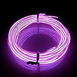 Lerway® 3M Elektrolumineszenz EL Wire Rope Kabel Weihnachten LED Licht für Tennis Schnürsenkel,Auto Dekoration,Werbeschild Ladengeschäft, Flexibel Streifen Licht - Lila