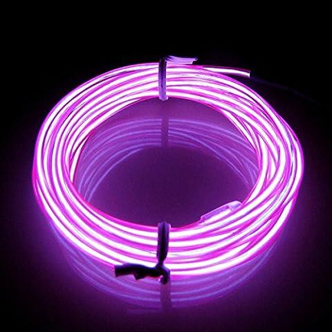 Lerway® 3M EL Wire RoLerway® 3M EL Wire Rope Kabel Weihnachten LED Licht für Maskenspiel,Santa Claus,Radfahren,Tennis Schnürsenkel,Auto Dekoration,Werbeschild Ladengeschäft, Flexible Streifen Licht - Lila