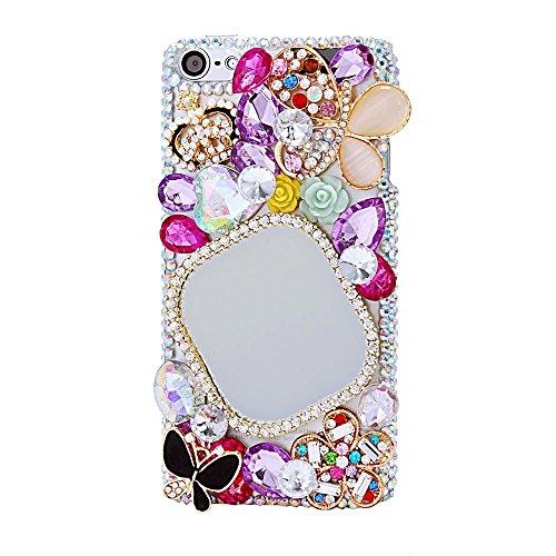 EVTECH per iPod Touch 5th generazione 5 G 5 55 3D luccicanti specchio corona farfalla strass Cover rigida (100% a mano)
