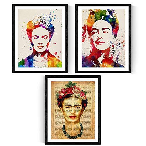 Nacnic Pack de láminas para enmarcar Frida Creativa. Posters Estilo Acuarela. Decoración de hogar. Láminas para enmarcar. Papel 250 Gramos
