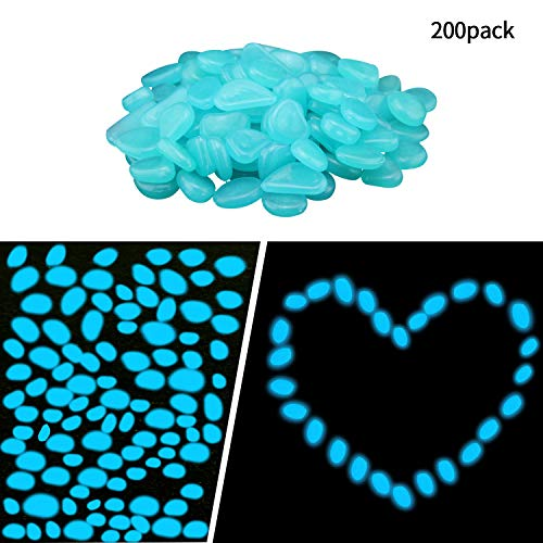 Smooce Pietre Luminosi, Decorative Stones Bright Pebbles, 200pcs Pietre Decorative da Giardino per passerelle All'aperto Decor Aquarium Acquario Sentiero Prato Cortile(Blu)
