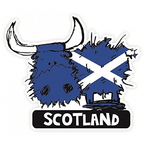 Scottish St. Andrews Saltire Flag Highland Coo Cow Vinyl Car Sticker Decal -