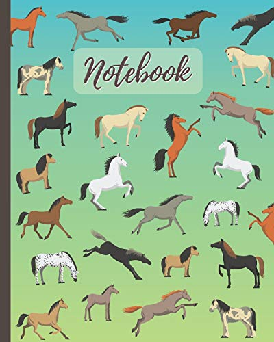 Notebook: Horses Cartoon Cover  - Lined Notebook, Diary, Track, Log & Journal - Cute Gift for Kids, Teens, Men, Women Who Love Horse Riding, Racing & Equestrian Sport (8