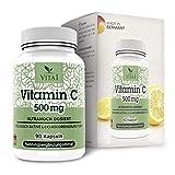Vita 1 Vitamin C 500 mg 90 Kapseln (3 Monate Vorrat) Glutenfrei, koscher & halal, 53 g