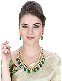 Aradhya Stylish Kundan With Green Stone And Shining Beige Pearl Necklace Set With Earrings For Women And Girls