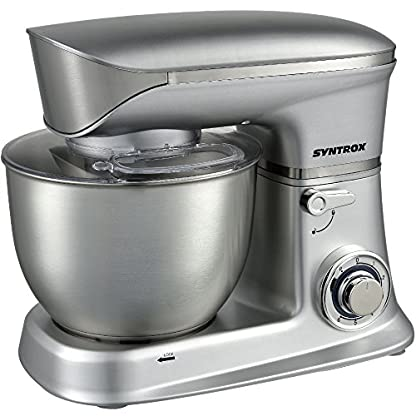 Syntrox-Germany-KM-65L-Basic-Kchenmaschine-Knetmaschine-Mixer-Edelstahl-Behlter-65-Liter-silber