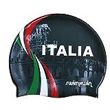 SWIMXWIN Cuffia in Silicone Colosseum Nero | Cuffia da Nuoto| Grande Comfort e aderenza | Design e Stile Italiano