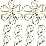 150 stuks paperclips, goud, waterdruppelvorm, kleine papieren clips van metaal voor school of kantoor, bladwij