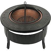 RayGar FP34 multifuncional 3-in-1 para exteriores redondo Fire Pit BBQ CUBITERA calentador