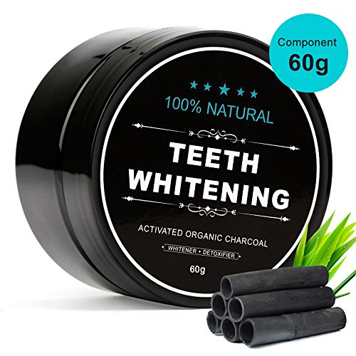 Aktivkohle Pulver Zahnaufhellung Mifine, Kokosnuss Activated Charcoal Zahn Pulver Teeth Whitening Powder zur Zahnreinigung, 100% REIN ohne schädliche Zusatzstoffe, 60g, Geschmacklos