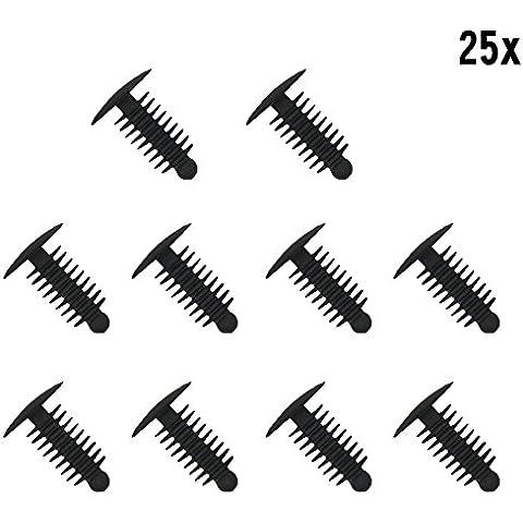 muchkey® 1x 25plástico recorte Clip Remaches de plástico Clips abeto árbol plástico coche Trim Clips negro–se adapta a 6–7mm Agujero 14mm