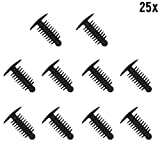 Muchkey® 1x 25 Plastic Trim Clip Plastic Rivets Clips Fir Tree Plastic Car Trim Clips Black - Fits 6-7mm hole- 14mm Head