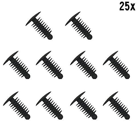 muchkey® 1x 25Bordure en plastique à clipser en plastique rivets Clips Arbre Sapin Tête fil d'auto Trim Clips Noir–s'adapte 6–7mm pour 14mm en plastique