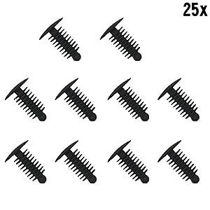 Muchkey® 1x 25Plastique Garniture Clip Plastique rivets Clips Sapin Plastique Car Trim Clips Noir–s'adapte Hole- 6–7mm 14mm Head pas cher – Livraison Express à Domicile