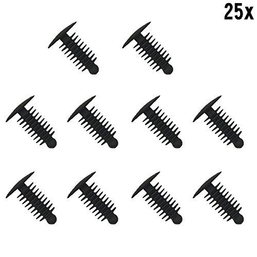 Muchkey® 1 x 25 clips de garniture de voiture en plastique à visser 6,4 × 19 mm