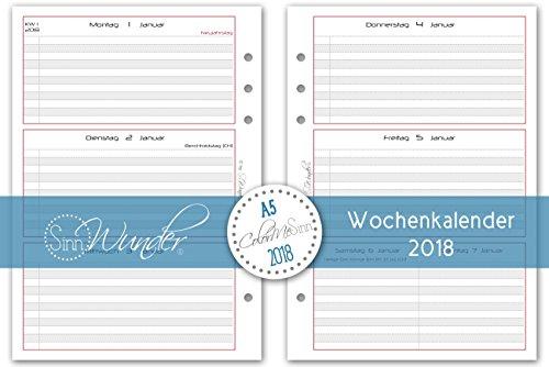 SinnWunder Kalendereinlagen 2018, A5, verschiedene Designs, Wochenkalender, 1 Woche 2 Seiten, Inlay für Planer – Design BasicSinn