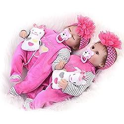 KEIUMI vraiment réel réaliste poupée Reborn Twins 43,2cm Coque en silicone doux Fille Sisters nouveau-nés jouet enfants Croissance partenaire