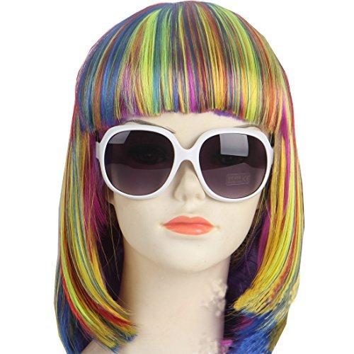 Kolight Modische bunte Kurzhaar-Perücke, für Halloween, Cosplay-Kostüm, Haar, Perücke, mit Kappe und Kamm