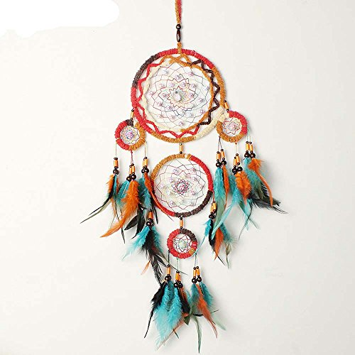 Native Indianer Dreamcatcher, Ihr Dream Wind Chimes Feder-Anhänger Wandbehang Home Dekorationen 5-cicle, türkis Perlen (Native American Hochzeit)