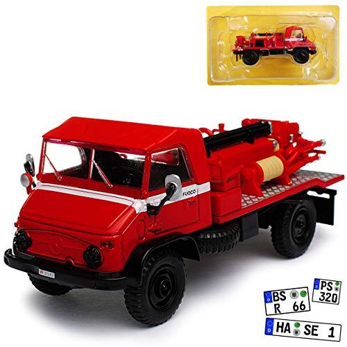 Atlas Mercedes-Benz Unimog U404 Vigli Del Fuoco Feuerwehr Rot 1/43 Modell Auto mit individiuellem Wunschkennzeichen