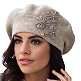 Kamea Etna Baskenmütze Dame Kopfbedeckung Winter Blume Warm Dick EU